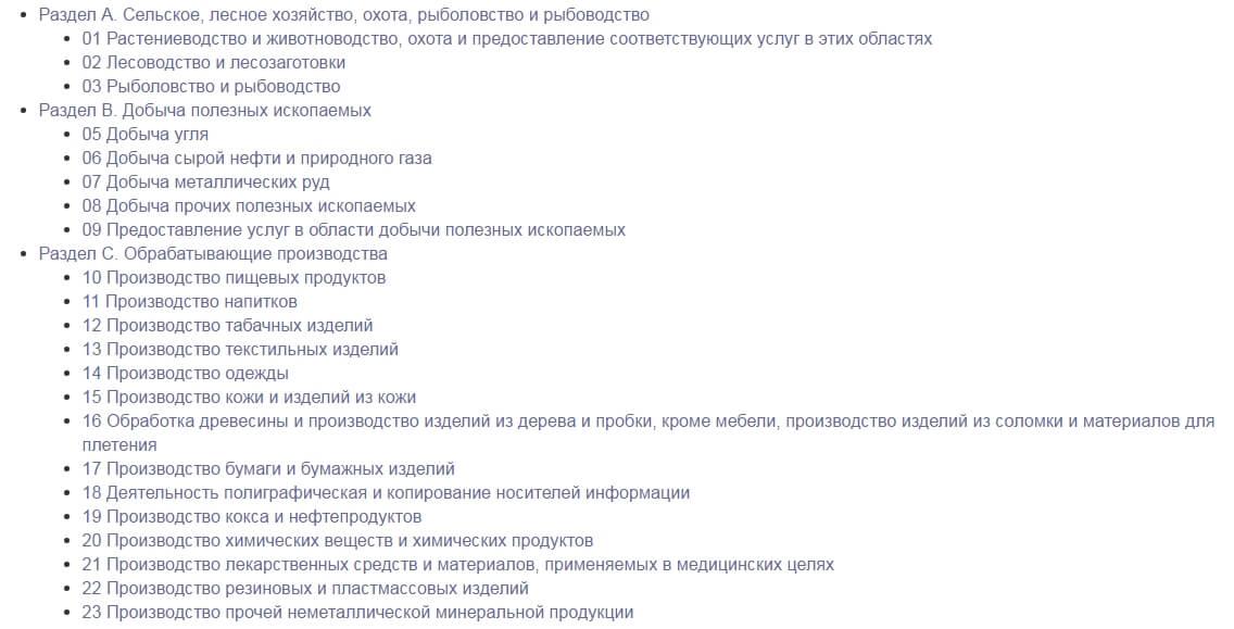 Классификатор ОКВЭД для ИП