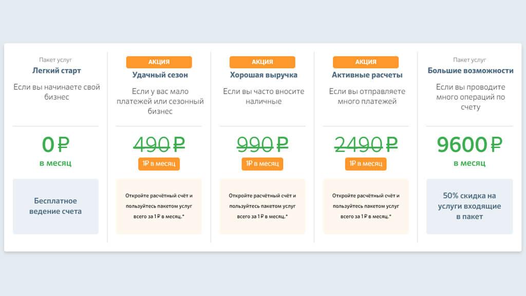 Сбербанк предлагает РКО с 6 тарифами по цене от 0 до 9600 рублей в месяц