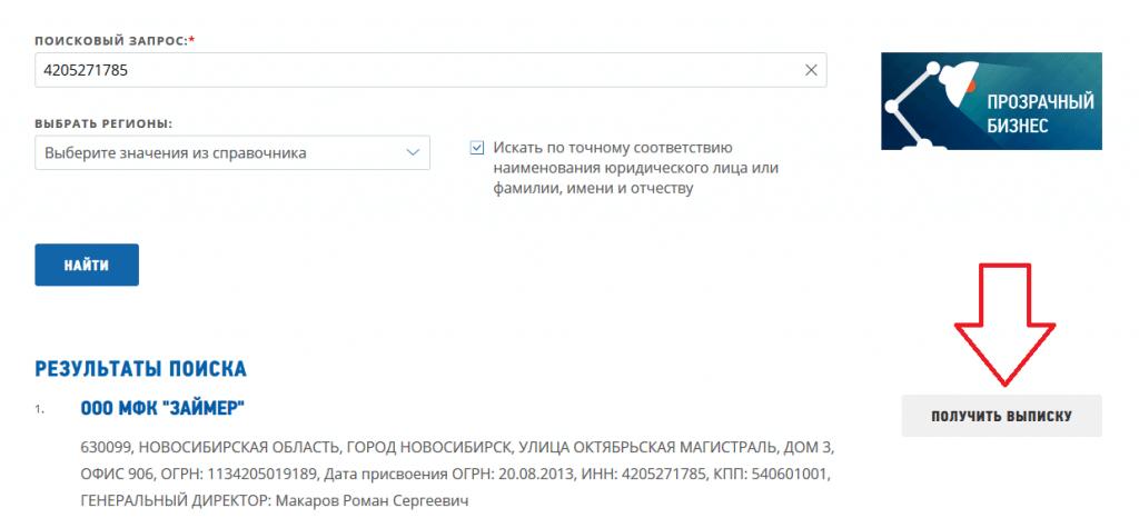 Результаты поиска компании на сайте ФНС