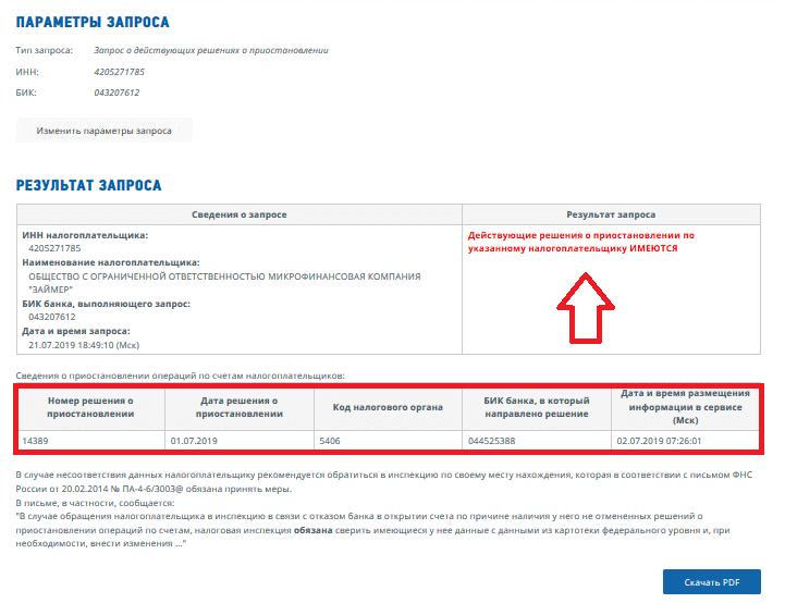 Результаты проверки блокировки счета на сайте ФНС