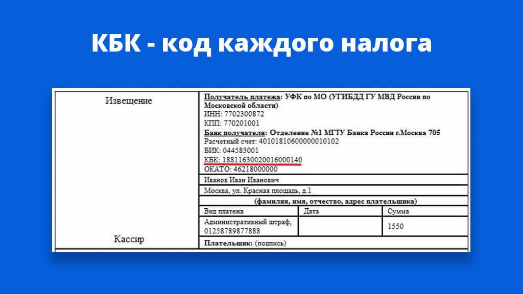КБК - код каждого налога, который вписывается в извещение