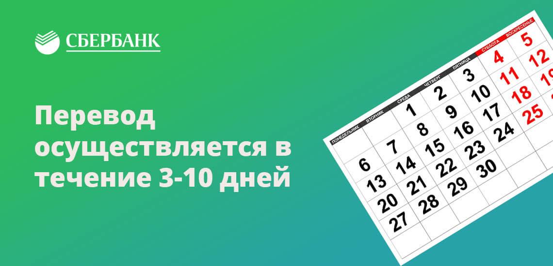 Перевод осуществляется в течение 3-10 дней